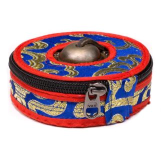 Funda para tingsha en brocado azul y rojo